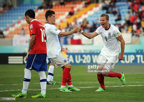 Harry Kane of England celebrates scoring his side's first goal with teammate Ross Barkley during the FIFA U20 World Cup Group E match between Chile...