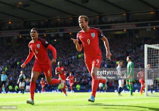 Harry Kane of England celebrates scoring his sides second goal during the FIFA 2018 World Cup Qualifier between Scotland and England at Hampden Park...