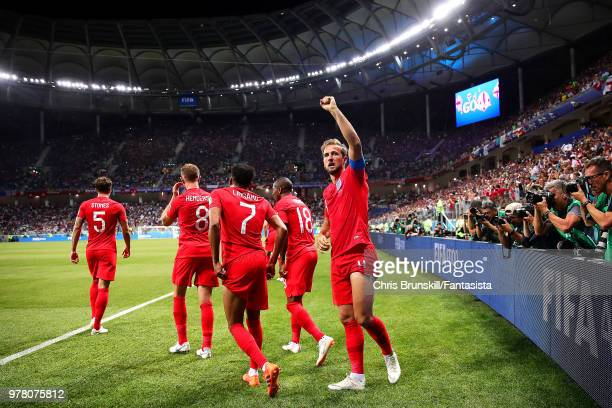 Harry Kane of England celebrates scoring his side's second goal during the 2018 FIFA World Cup Russia group G match between Tunisia and England at...