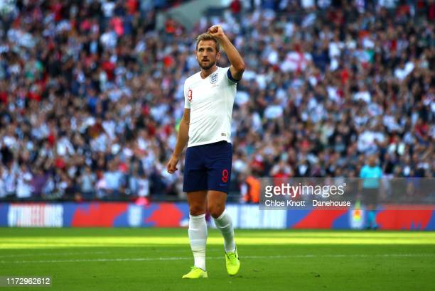 Harry Kane of England celebrates scoring his teams first goal during the UEFA Euro 2020 qualifier match between England and Bulgaria at Wembley...