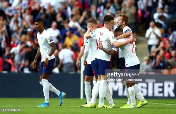 Harry Kane of England celebrates scoring his teams second goal during the UEFA Euro 2020 qualifier match between England and Bulgaria at Wembley...