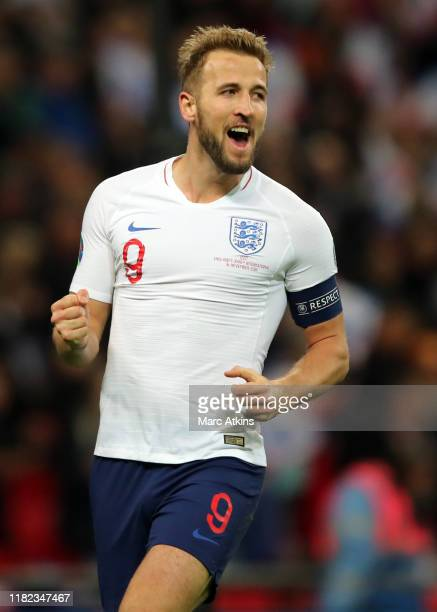 Harry Kane of England celebrates scoring his third goal during the UEFA Euro 2020 qualifier between England and Montenegro at Wembley Stadium on...