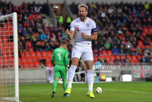 Harry Kane of England celebrates scoring the first goal during the UEFA Euro 2020 qualifier between Czech Republic and England at Sinobo Stadium on...