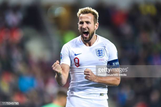 Harry Kane of England celebrates scoring the first goal of his team via penalty during the UEFA Euro 2020 qualifier between Czech Republic and...