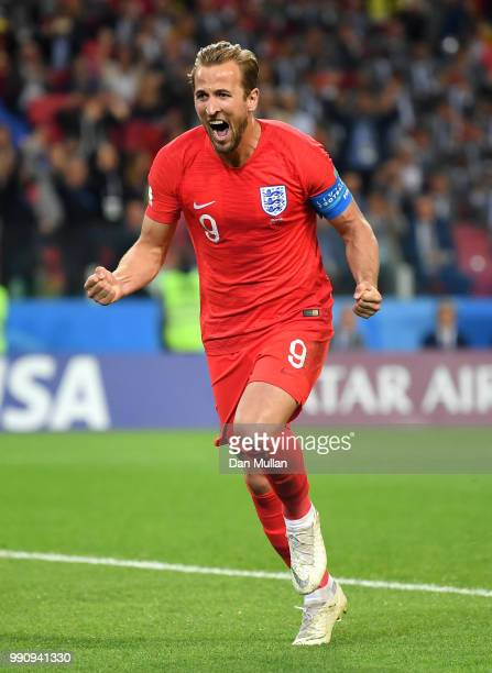 Harry Kane of England celebrates scoring the opening goal from a penalty during the 2018 FIFA World Cup Russia Round of 16 match between Colombia and...