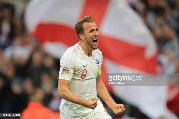 Harry Kane of England celebrates scoring their 2nd goal during the UEFA Nations League A group four match between England and Croatia at Wembley...