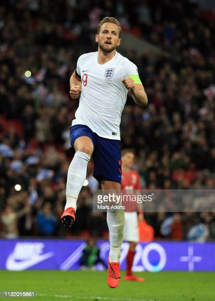 Harry Kane of England celebrates scoring their 2nd goal during the 2020 UEFA European Championships group A qualifying match between England and...