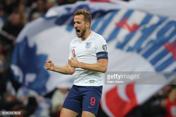 Harry Kane of England celebrates scoring their 3rd goal during the UEFA Euro 2020 qualifier between England and Montenegro at Wembley Stadium on...