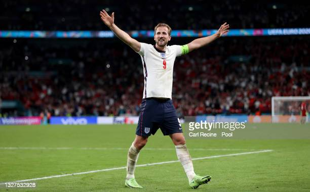 Harry Kane of England celebrates their side's victory towards the fans after the UEFA Euro 2020 Championship Semi-final match between England and...