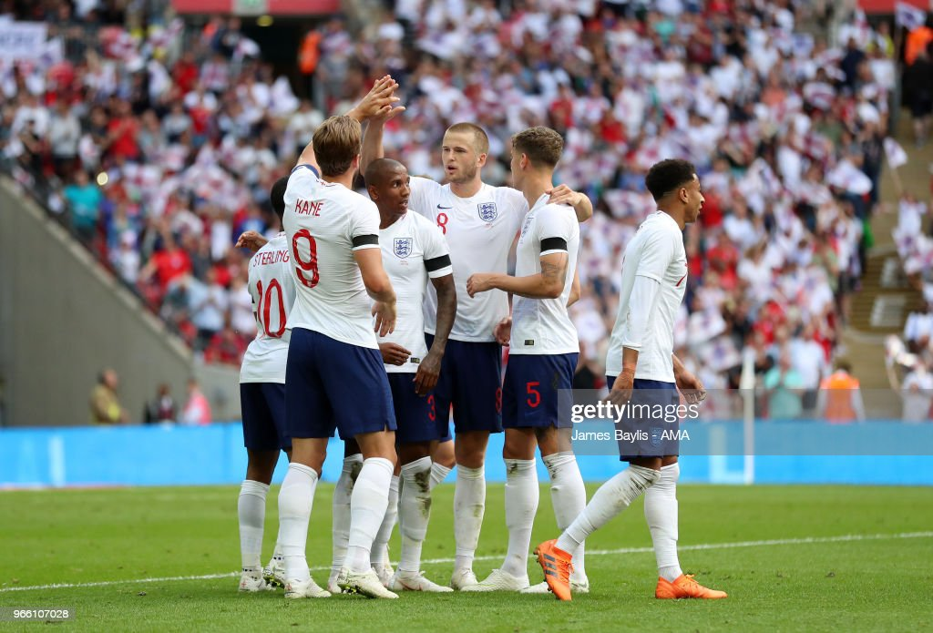 Harry Kane of England celebrates with his team mates after scoring a goal to make it 2-0 during the International Friendly between England and Nigeria at Wembley Stadium on June 2, 2018 in London, England.