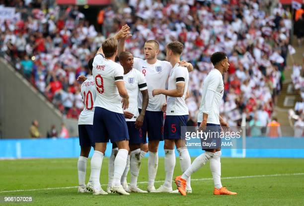 Harry Kane of England celebrates with his team mates after scoring a goal to make it 20 during the International Friendly between England and Nigeria...