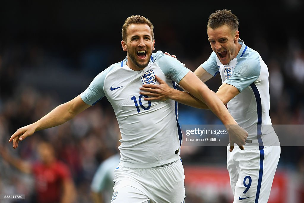 Harry Kane of England celebrates with Jamie Vardy of England after he scored the opening goal during the International Friendly match between England and Turkey at Etihad Stadium on May 22, 2016 in Manchester, England.
