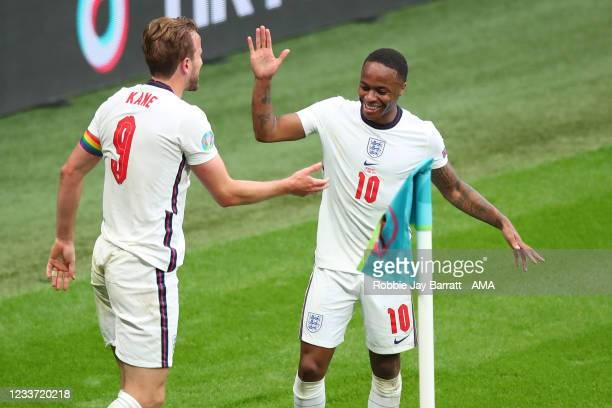 Harry Kane of England celebrates with Raheem Sterling after scoring a goal to make it 2-0 during the UEFA Euro 2020 Championship Round of 16 match...