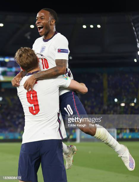 Harry Kane of England celebrates with Raheem Sterling after scoring their side's third goal during the UEFA Euro 2020 Championship Quarter-final...