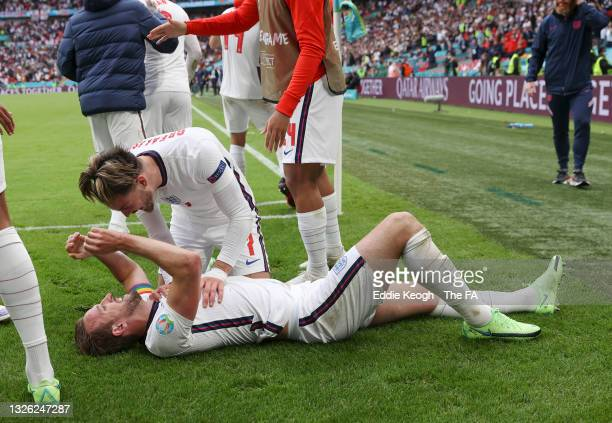 Harry Kane of England celebrates with teammate Jack Grealish after scoring his team's second goal during the UEFA Euro 2020 Championship Round of 16...