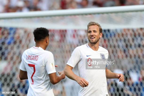 Harry Kane of England celebrates with teammate Jesse Lingard after scoring his team's sixth goal during the 2018 FIFA World Cup Russia group G match...