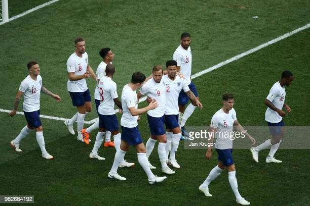 Harry Kane of England celebrates with teammates after scoring a penalty for his team's fifth goal during the 2018 FIFA World Cup Russia group G match...