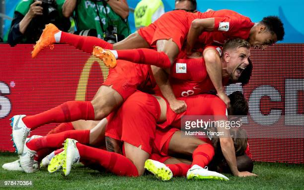 Harry Kane of England celebrates with teammates after scoring his team's second goal during the 2018 FIFA World Cup Russia group G match between...