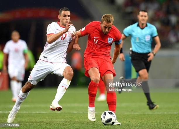 Harry Kane of England challenge for the ball with Ellyes Skhiri of Tunisiaduring the 2018 FIFA World Cup Russia group G match between Tunisia and...