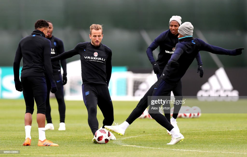 Harry Kane of England challenges Marcus Rashford of England during the England training session at the Stadium Spartak Zelenogorsk on July 2, 2018 in Saint Petersburg, Russia.