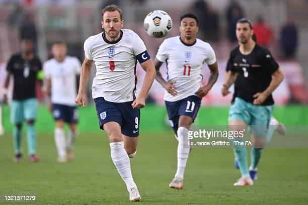Harry Kane of England chases down the ball during the international friendly match between England and Austria at Riverside Stadium on June 02, 2021...