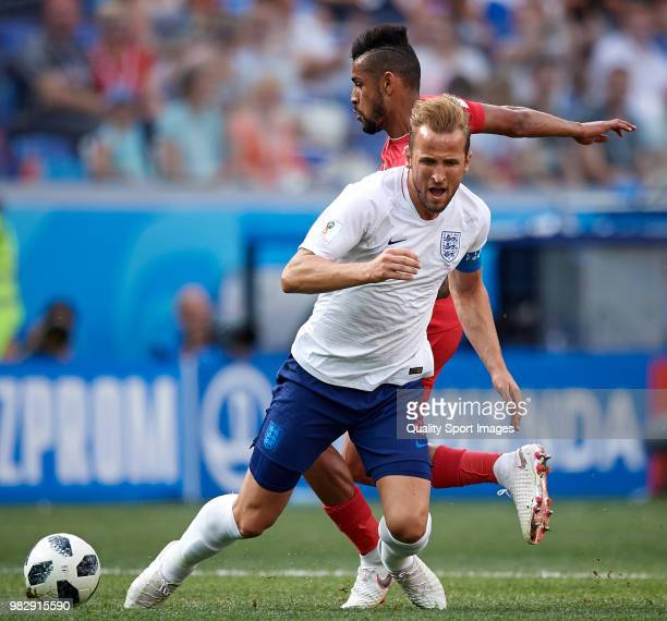 Harry Kane of England competes for the ball with Anibal Godoy of Panama during the 2018 FIFA World Cup Russia group G match between England and...