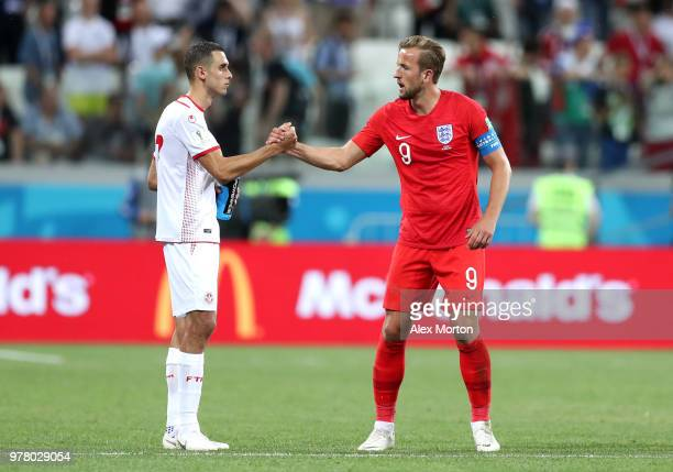 Harry Kane of England congratulates Ellyes Skhiri of Tunisia following the 2018 FIFA World Cup Russia group G match between Tunisia and England at...