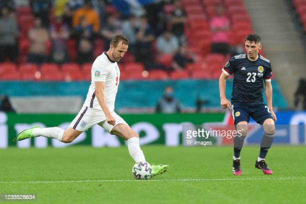 Harry Kane of England controls the ball during the UEFA Euro 2020 Championship Group D match between England and Scotland at Wembley Stadium on June...