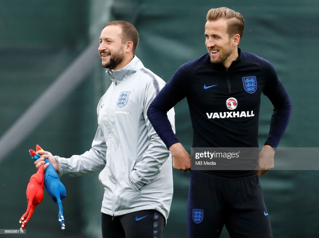 Harry Kane (R) of England during an England training session ahead of the 2018 FIFA World Cup Russia Semi-Final match against Croatia, on July 10, 2018 in Saint Petersburg, Russia.
