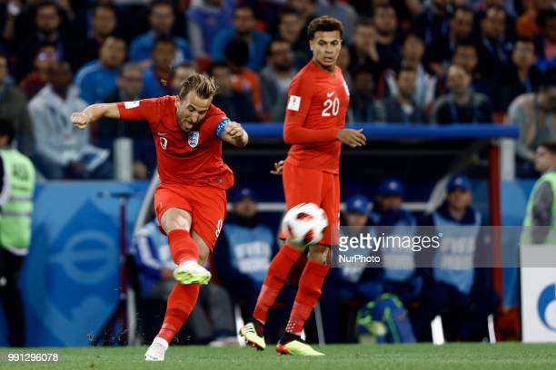 Harry Kane of England during the 2018 FIFA World Cup Russia Round of 16 match between Colombia and England at Spartak Stadium on July 3 2018 in...