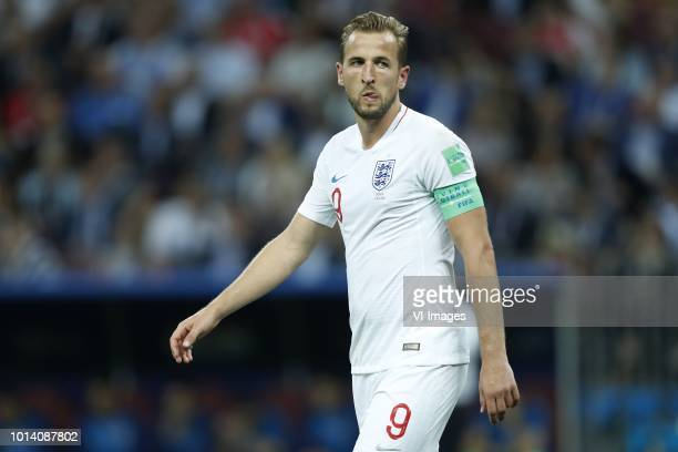 Harry Kane of England during the 2018 FIFA World Cup Russia Semi Final match between Croatia and England at the Luzhniki Stadium on July 11 2018 in...