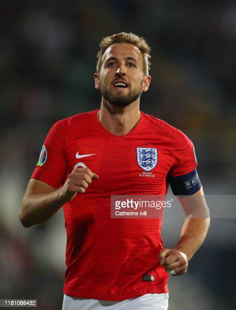 Harry Kane of England during the UEFA Euro 2020 qualifier between Bulgaria and England on October 14, 2019 in Sofia, Bulgaria.