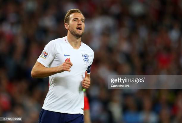 Harry Kane of England during the UEFA Nations League A group four match between England and Spain at Wembley Stadium on September 8 2018 in London...