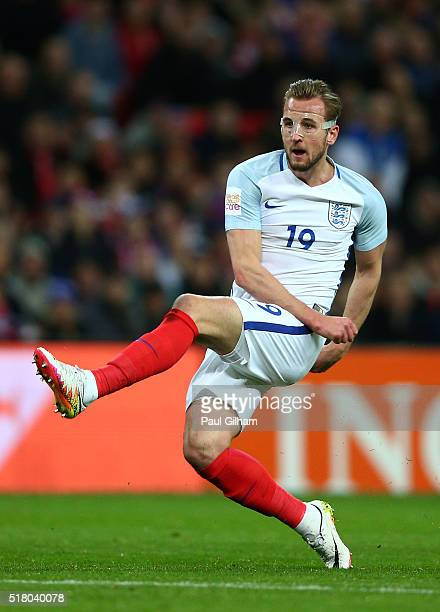 Harry Kane of England fires in a shot on goal during the International Friendly match between England and Netherlands at Wembley Stadium on March 29...