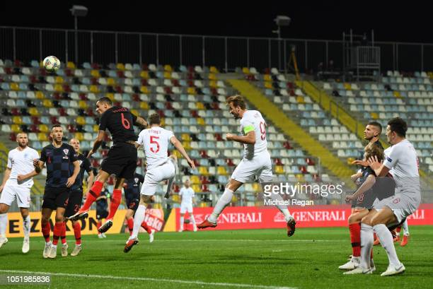 Harry Kane of England heads a chance goalwards during the UEFA Nations League A Group Four match between Croatia and England at Stadion HNK Rijeka on...