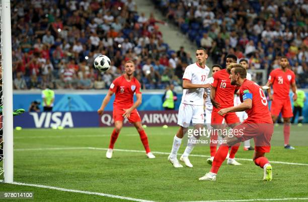 Harry Kane of England heads in to score his team's second goal during the 2018 FIFA World Cup Russia group G match between Tunisia and England at...