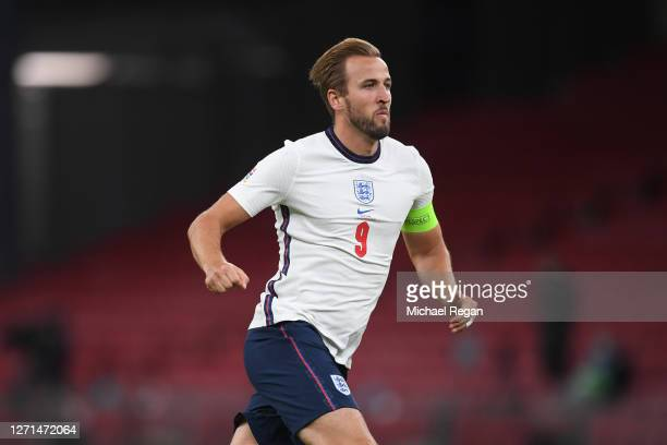 Harry Kane of England in a action during the UEFA Nations League group stage match between Denmark and England at Parken Stadium on September 08,...