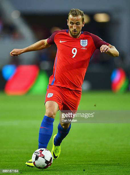 Harry Kane of England in action during the 2018 FIFA World Cup Group F qualifying match between Slovakia and England at City Arena on September 4...