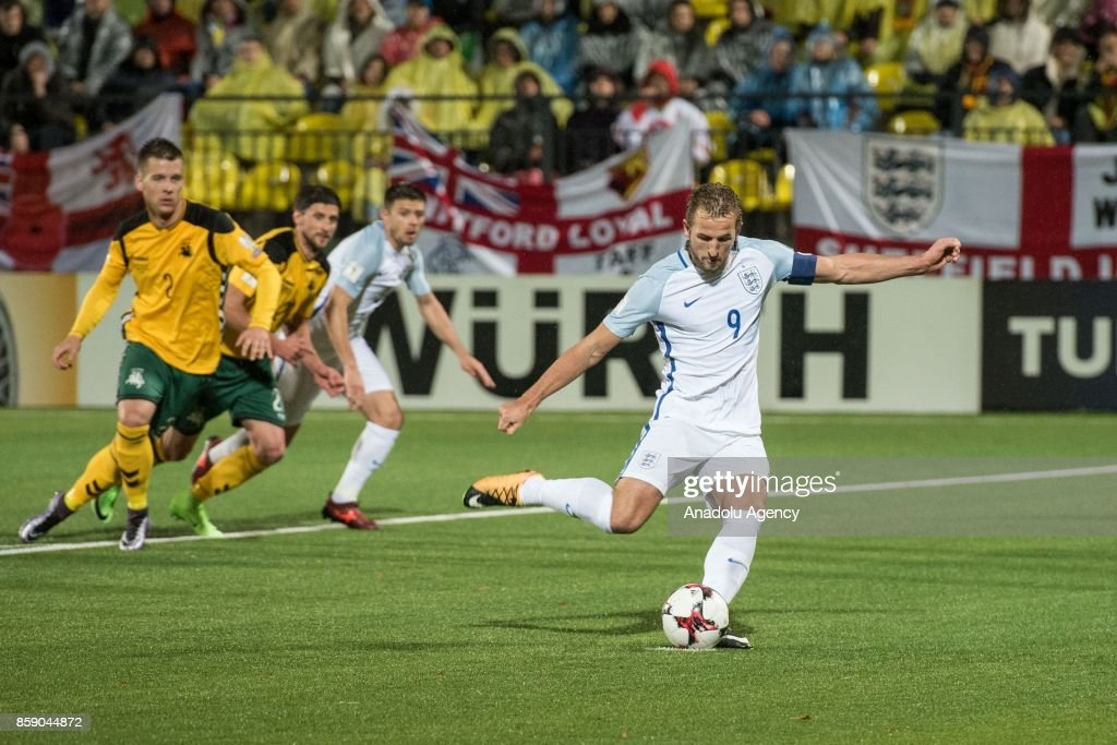 Harry Kane (9) of England in action during the 2018 FIFA World Cup European Qualification football match between England and Lithuania at LFF Stadium in Vilnius, Lithuania on October 08, 2017.