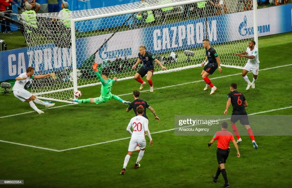 Harry Kane (L) of England in action during the 2018 FIFA World Cup Russia Semi Final match between England and Croatia at Luzhniki Stadium on July 11, 2018 in Moscow, Russia. Croatia have advanced to their first ever World Cup final after beating England 2-1.