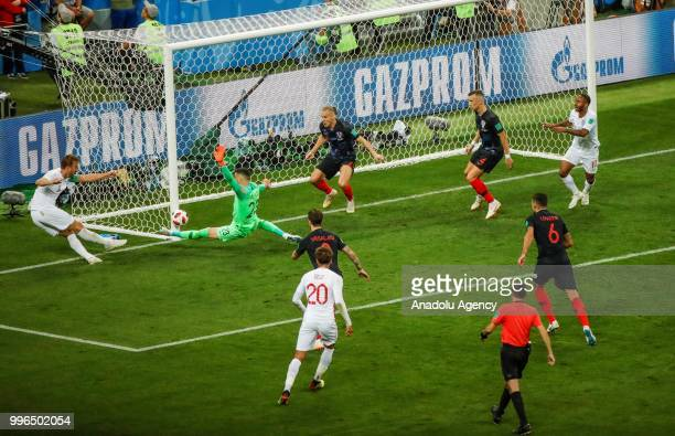 Harry Kane of England in action during the 2018 FIFA World Cup Russia Semi Final match between England and Croatia at Luzhniki Stadium on July 11...