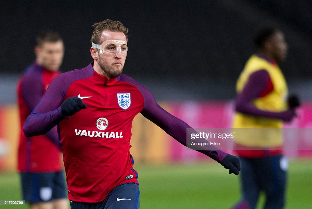 Harry Kane of England in action during the England training session at Olympic Stadium on March 25, 2016 in Berlin, Germany.