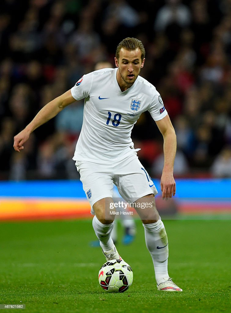 Harry Kane of England in action during the EURO 2016 Qualifier match between England and Lithuania at Wembley Stadium on March 27, 2015 in London, England.