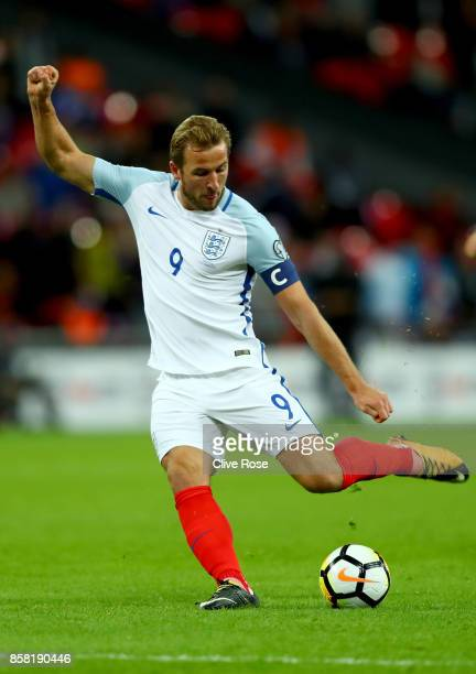 Harry Kane of England in action during the FIFA 2018 World Cup Group F Qualifier between England and Slovenia at Wembley Stadium on October 5 2017 in...