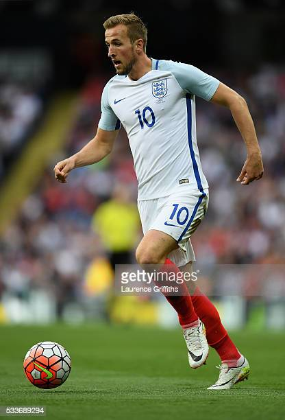 Harry Kane of England in action during the International Friendly match between England and Turkey at Etihad Stadium on May 22 2016 in Manchester...