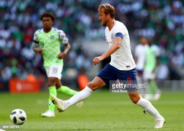 Harry Kane of England in action during the International Friendly match between England and Nigeria at Wembley Stadium on June 2 2018 in London...