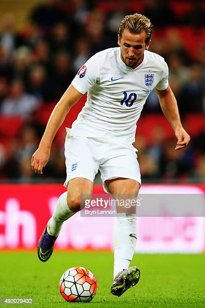 Harry Kane of England in action during the UEFA EURO 2016 Group E qualifying match between England and Estonia at Wembley on October 9 2015 in London...
