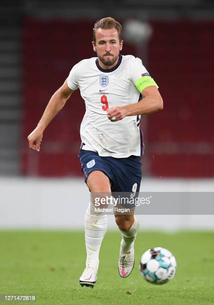 Harry Kane of England in action during the UEFA Nations League group stage match between Denmark and England at Parken Stadium on September 08, 2020...