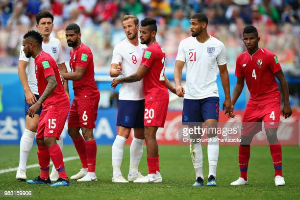 Harry Kane of England is blocked by Anibal Godoy of Panama during the 2018 FIFA World Cup Russia group G match between England and Panama at Nizhny...