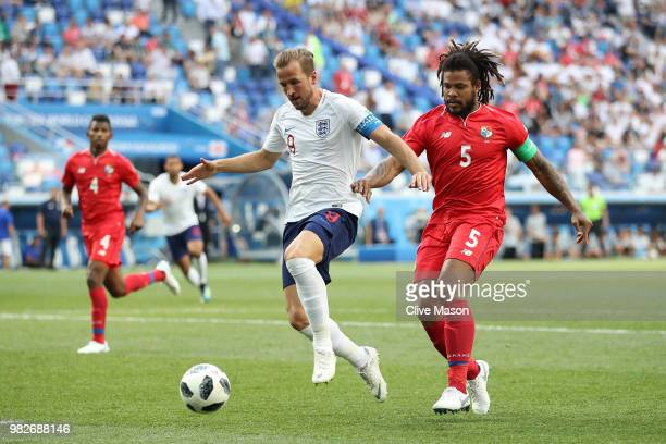 Harry Kane of England is challenged by Roman Torres of Panama during the 2018 FIFA World Cup Russia group G match between England and Panama at...